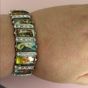 Jesus statue cross bracelet with rhinestone